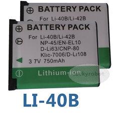 2x LI-40B LI-42B Battery For Olympus Fuji NP-45 Digital Camera Pentax D-Li63