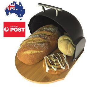 Bread Bin Modern Compact Rolltop with Bamboo Cutting Base Gift for Women