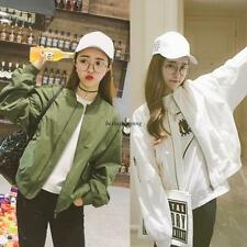Korean Womens Casual Loose Slim Sport Baseball Jacket Short Coat Bomber Outwear