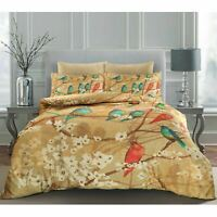 Luxury Golden Birds Floral 100% Egyptian Cotton Satin Duvet Cover Pillowcase Set