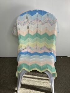 Hand knitted pointelle pastel colours soft baby blanket throw cottagecore style