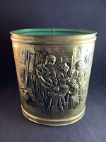 Vintage Tooled Pressed Metal Brass Wastebasket Trash Can - Made in England