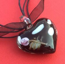 NEW! Black White Glass Heart Pendant Ribbon Necklace Women's - Aussie Seller!
