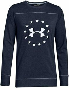 Under Armour Freedom Threadborne Sweatshirt Navy Blue White Logo Womens LG NWT