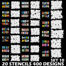 Set 10 400 Airbrush Nail Art STENCIL DESIGNS 20 Template Sheets Kit Brush Paint