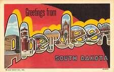 Aberdeen South Dakota Greetings Large Letter Linen Antique Postcard K23120