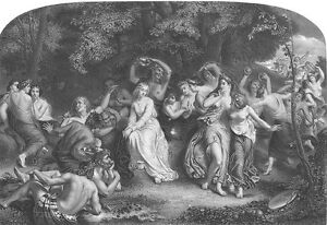 NAKED NUDE WOMEN GIRLS NYMPHS FAIRY QUEEN UNA ~ 1860 Art Print Engraving RARE!