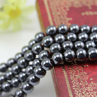 10/20/50Pcs Black Round Charms Bracelets Magnetic Hematite Beads 4/6/8/10/12MM
