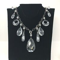 Clear Faceted Prism Necklace 32 Inch Chain