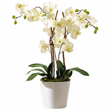 Orchid Planter Artificial Plant White Fake Faux with Pot Planter