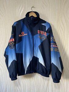 USA 1996 OLYMPIC GAMES ATLANTA ALL OVER PRINT JACKET WINDBREAKER CHAMPION sz L