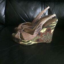 Ravel PeepToe Slingback Printed Silk Platform and Faux Leather Upper Wedge Shoes