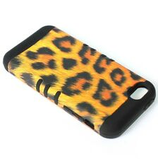 For iPhone 5C - HARD & SOFT RUBBER HYBRID SKIN CASE GOLD BLACK LEOPARD CHEETAH