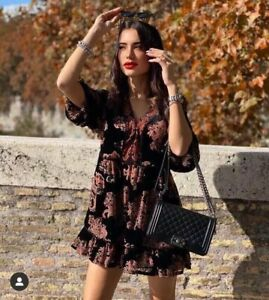 ZARA BNWT. BLACK PAISLEY VELVET CONTRAST V NECK MINI DRESS LINED Size L