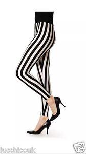 Womens Ladies Black and White Vertical Print Full Length Stripe Leggings UK 8-14