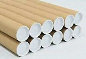 "10 - 2"" x 24"" Cardboard Shipping Mailing Tube Tubes Cores With End Caps"