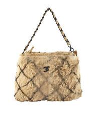 Chanel Beige & Brown Quilted Fur Satchel Bag