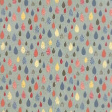 Moda Basic Grey Mon Ami Raindrops Fabric in Blue 30414-17 100% Cotton