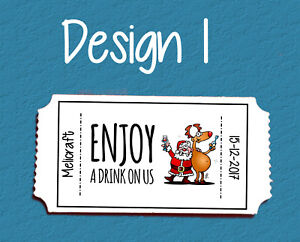 """Personalised Ticket Style """"Free Drink"""" Tokens For Christmas Parties! 3 Designs"""