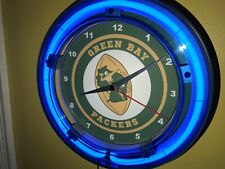 Green Bay Packers Throwback Football Man Cave Blue Neon Wall Clock Sign