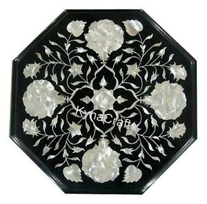"""Mosaic Art Coffee Table Top Black Stone End Table with Decent Flower Design 13"""""""