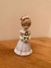 Enesco Growing Up Birthday Girls, Porcelain Figurine Brunette, Age 4