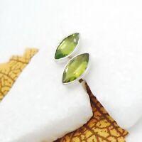 Peridot grün Ellipse Design Ohrringe Ohrstecker Stecker 925 Sterling Silber neu