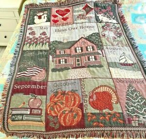 Bless Our Home Months Seasons Holidays Of Year 1993 Tapestry Throw Blanket 68x44