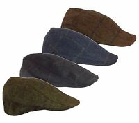 TWEED Wool Flat Cap with Quilted Inner Lining Sizes M L XL FlapCap Hunting Walk
