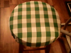 Kelly Green Checked Bar Stool Cover