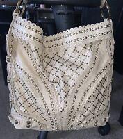 BOHO Isabella Fiore Stud Muffin Carina Large Cream Tan Shoulder Handbag