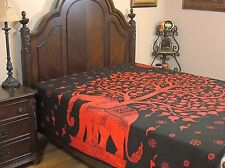 Tree of Life Reversible Duvet Cover Red Bohemian Cotton Print Comforter Double