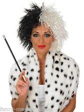 Ladies Black White Dalmatian Villain Halloween Wig Fancy Dress Costume Accessory