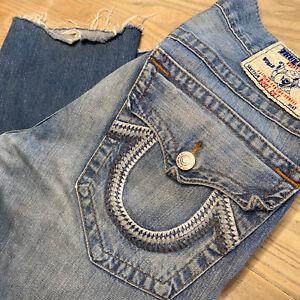 True Religion Jeans - Bootcut Denim - Mens Size 34x29/30- Distressed - RAW HEM