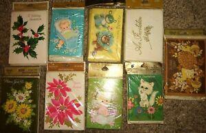 9 sealed Vintage 60s Christmas Party Invitation Cards baby + Hallmark Rust craft
