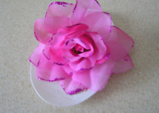 1 NEW HAIR SCRUNCHIE TIE BOBBLE BAND ELASTIC PONIO PINK ROSE 95mm WOMENS GLITTER