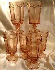 Fostoria Virginia Pink Water/Iced Tea Goblets set of 6 Heavy Pressed Glass 7.25""