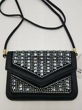 Evening Purse Cell Phone Clutch Black Rhinestone Faux Leather Sparkle Bling NEW