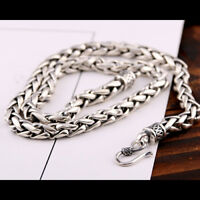 """Real Solid 925 Sterling Silver Necklace Braided Chain Men 20"""" 26"""""""