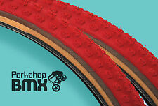 "Kenda Comp 3 III old school BMX skinwall gumwall tires 24"" X 1.75"" RED (PAIR)"