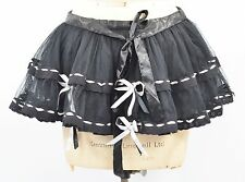 M/L BLACK LAYERED PETTICOAT RIBBON TUTU SKIRT BURLESQUE PRINCESS COSPLAY 12 14