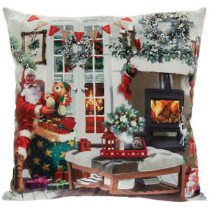 Santa Christmas Winter Festive Scene LED Light Up Cushion with Insert 40 x 40cm