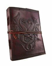 Handmade Vintage Antique Looking Double Dragon Leather Journal Travel Notebook