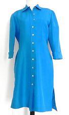Bahari Group Dress Shirt Dress Size L Royal Blue 100% Silk Mid-Calf