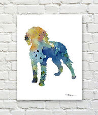 American Water Spaniel Abstract Watercolor Painting Art Print by Artist Djr