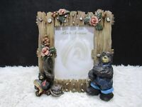 "Ceramic Rustic Bears with Flowers and Fish 4"" x 6"" Photo Frame, Decorative Home"