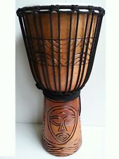 Djembe drum 50cm tribal face carved quality mohogany wood natural