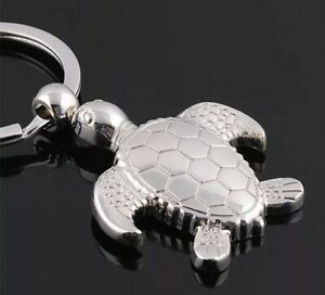 "Sea Turtle Keychain Metal Silver 2"" US Seller"
