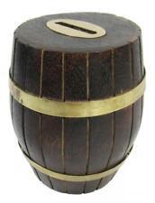 """Money Box Piggy Bank Wood Barrel Brass 12.5 cm / 5"""" High"""