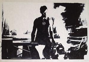 "Iron Man Marvel Comics Movie Pop Art Oil Painting Hand-Painted on Canvas 36""x48"""